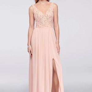 David's Bridal Illusion V-Neck Lace and Mesh Dress